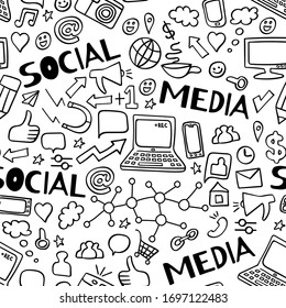 Social media doodles seamless pattern with text elements. Computer technology hand drawn background. Vector illustration.