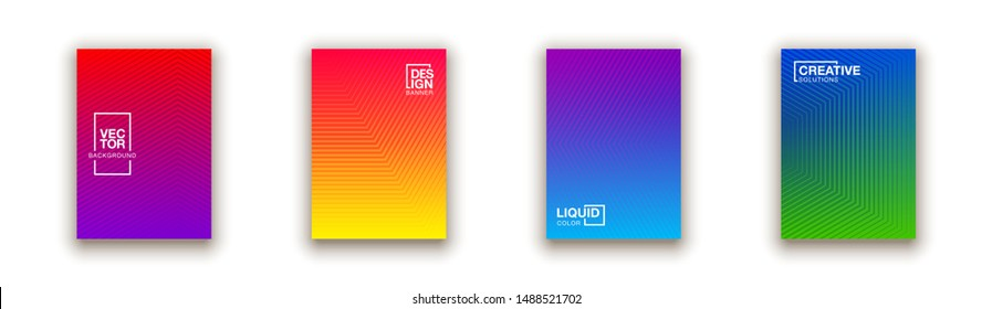 Social media duotone gradient background set. Social network stories soft colorful theme pack. Rainbow graphic display, wallpaper. Modern vibrant mobile app design. Blending bright duo colors template