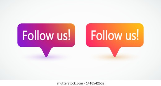 Social media element. Follow us labels, banners, colorful gradient notification. Blogging, streaming. Social media concept. Vector illustration. EPS 10