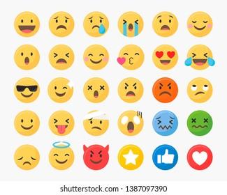 Social media emoticons vector set