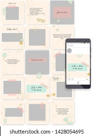 Social media endless feed editable template. Puzzle grid for business or personal account. Customizable layouts vector pack. Easy to insert your photo and text. Pastel theme with summer doodles.