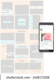 Social media endless feed template with ripped paper edge. Editable puzzle grid for business or personal account. A set of customizable vector layouts on transparent background.