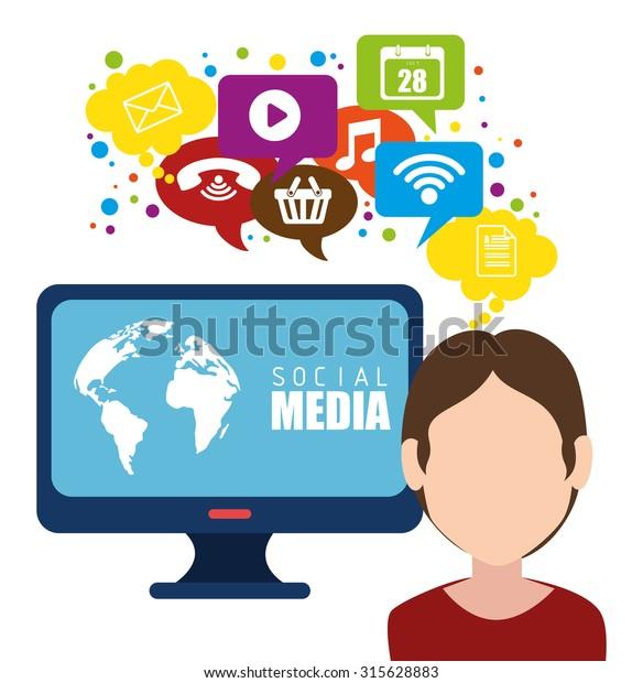 Social Media Entertainment Graphic Design Vector Stock