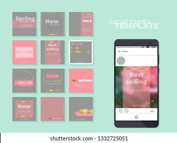Social media feed template. Puzzle design for business profile. Vector illustration on transparent background. Insert your photo and text, create unique content.