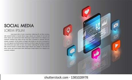 Social media flat 3d isometric concept vector icon with mobile phone technology connect database digital cyber process vector illustration.