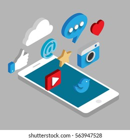 Social media flat 3d isometric concept vector icons. Desktop, chat, video, camera, phone, tablet.  Flat web illustration infographics collection.