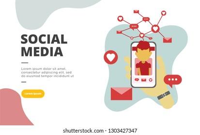 Social Media flat design banner illustration concept for digital marketing and business promotion