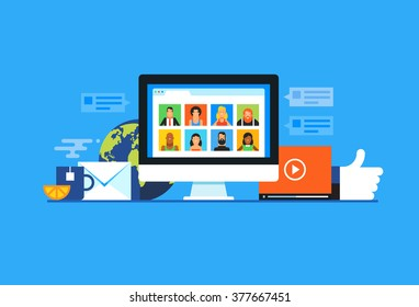 Social media. Flat design modern vector illustration concept.