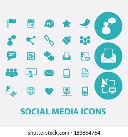 social media flat icons set  for digital web, print, design, mobile phone apps, vector