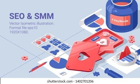 Social media flat isometric vector concept. Tools for SEO specialist, Keywords and hashtag. Data analitics