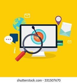 Social media flat modern design concept local store marketing vector. Flat web illustration infographics collection.