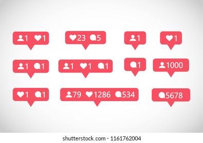 Social Media followers, comments, likes vector set