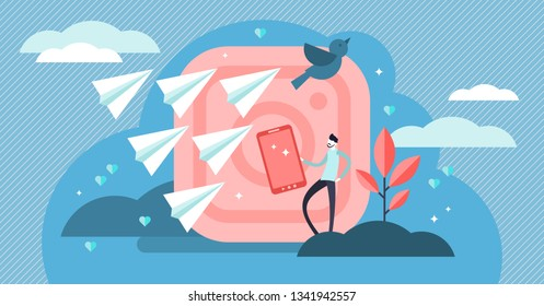 Social media followers vector illustration. Flat tiny persons concept. Flying messaging symbols and information flow. Mobile networking influence marketing culture. Online content audience building.