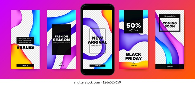 Social Media Frames Templates. Story Design for Photo or Product Presentation. Promotion of Discount in Social Network. Abstract Colorful Fluid Shape. Swipe Up Button, Sales Day, Social Media Concept.