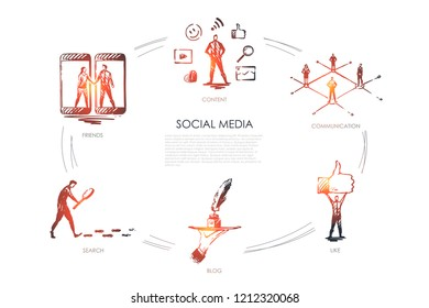 Social media, friends, content, blog, search, like vector set