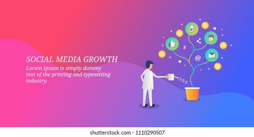 Social media growth - Business growth concept - Social media marketing - vector banner illustration with icons and texts