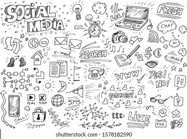 Social media hand drawn doodles