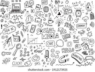 Social media hand drawn vector doodles