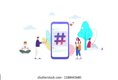 social media hashtag vector illustration concept with people ,  can use for, landing page, template, ui, web, mobile app, poster, banner, flyer