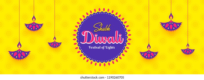 Social media header or banner design decorated with creative oil lamps hang on yellow floral pattern background for Shubh (Happy) Diwali celebration.