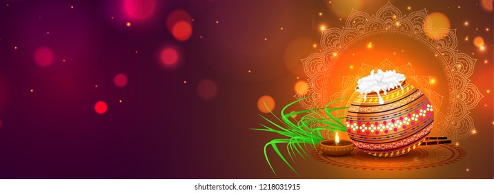 Social media header or banner design with traditional pot, sugarcane and illuminated oil lamp on glossy blurred bokeh background for Happy Pongal celebration.