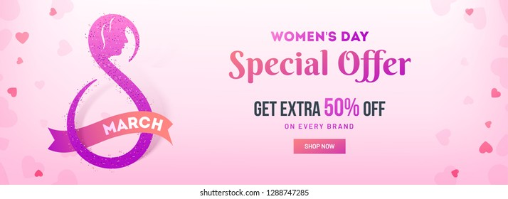 Social media header or banner design with 50% discount offer for Women's Day Sale.