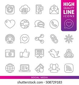 Social media high quality line icons. Vector illustration