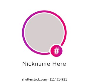 Social media icon avatar frame. Hashtag stories user video streaming. Colorful gradient frame for photo. Vector illustration.