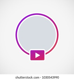 Social media icon avatar LIVE video streaming colorful gradient. Live video Instagram button, symbol, sign. Social media, Insta user stream. Element for social network, web, mobile, ui, app. Vector