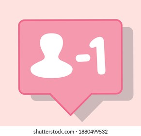Social media icon emoji for unfollow in pink color with pastel pink background