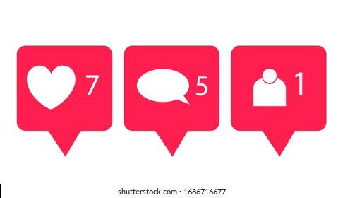 social media icon isolated on white background, notification icon
