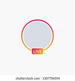 Social Media Icon - Live Stream/Story Video Symbol sign - Vector