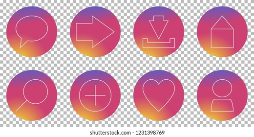 Social media icon set with button design for most common features like home, comment and love in modern graphic element style on Instagram inspired sunset color background