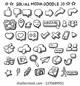 Social media icon vector 3D doodles with depth