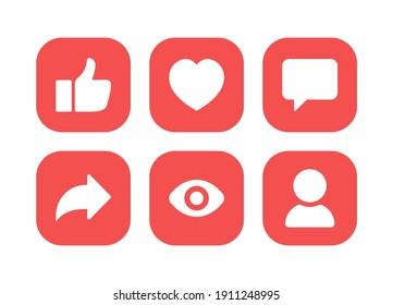 Social media icon vector. notification, like, comment, share symbol vector illustration