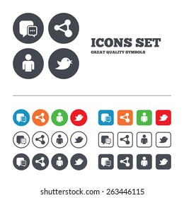 Social media icons. Chat speech bubble and Share link symbols. Bird sign. Human person profile. Web buttons set. Circles and squares templates. Vector