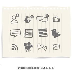 Social Media icons drawing sketch