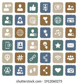 Social Media Icons. Grunge Color Flat Design. Vector Illustration.