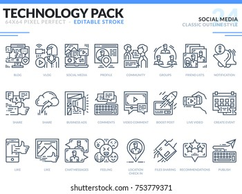 Social Media Icons Set. Editable Stroke. Technology outline icons pack. Pixel perfect thin line vector icons for web design and website application.