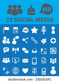 social media icons, signs, objects set, vector