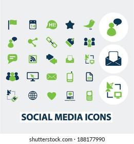 social media icons, signs set, vector