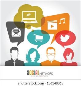 Social media icons in speech bubbles with group of people
