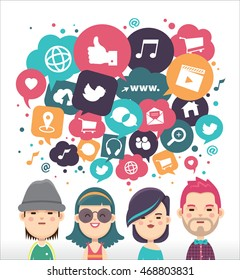 Social media icons in speech bubbles with group of young people
