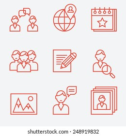 Social media icons, thin line style, flat design
