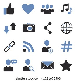 Social Media Icons. Two Tone Flat Design. Vector Illustration.