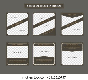 Social media ig Instagram post template in vintage retro artdeco victorian style theme with paragraph and issue title text set