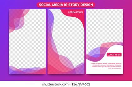 social media ig instagram story frame set background template in creative Colorful fluid gradient transparent