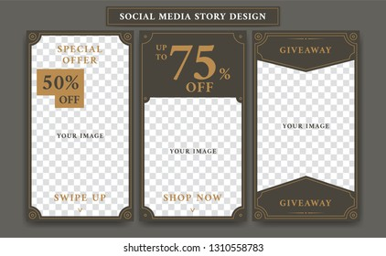 Social media ig instagram story design template in vintage artdeco retro frame style for giveaway or product discount promotion