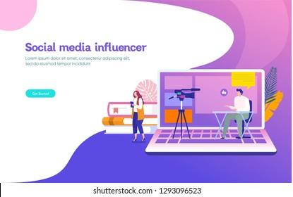 Social media influencer live for webinar vector illustration concept, girl streaming webinar with smartphone and laptop,  suiteable, landing page, template, ui, web, mobile app, poster, banner, flyer