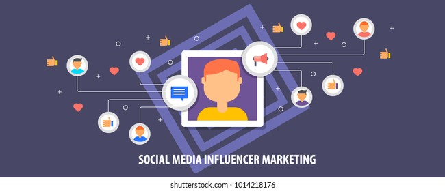 Social media Influencer, Influencer marketing, content marketing conceptual vector